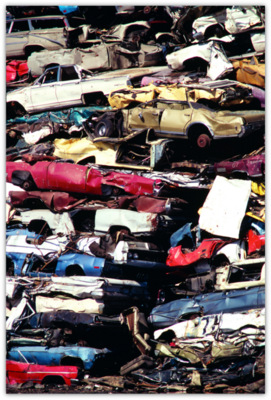 Mountain of smashed cars
