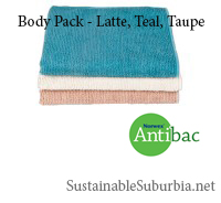 Norwex body cloths in vintage colours - latte, teal and taupe. Antibac. SustainableSuburbia.net