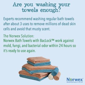 Experts recommend washing bath towels about every three uses. The Norwex solution...