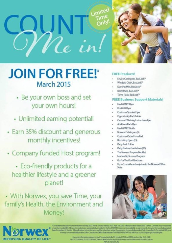 Count me in, Join for Free in March, Norwex Australia   SustainableSuburbia.net