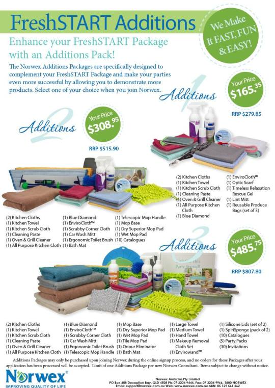 The Norwex Additions packages are an optional extra, specifically designed to complement your Fresh Start package | Select one of your choice when your join Norwex