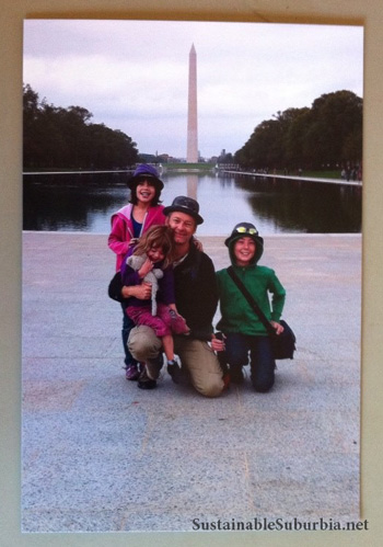 My family posing in front of the Washington Monument | SustainableSuburbia.net