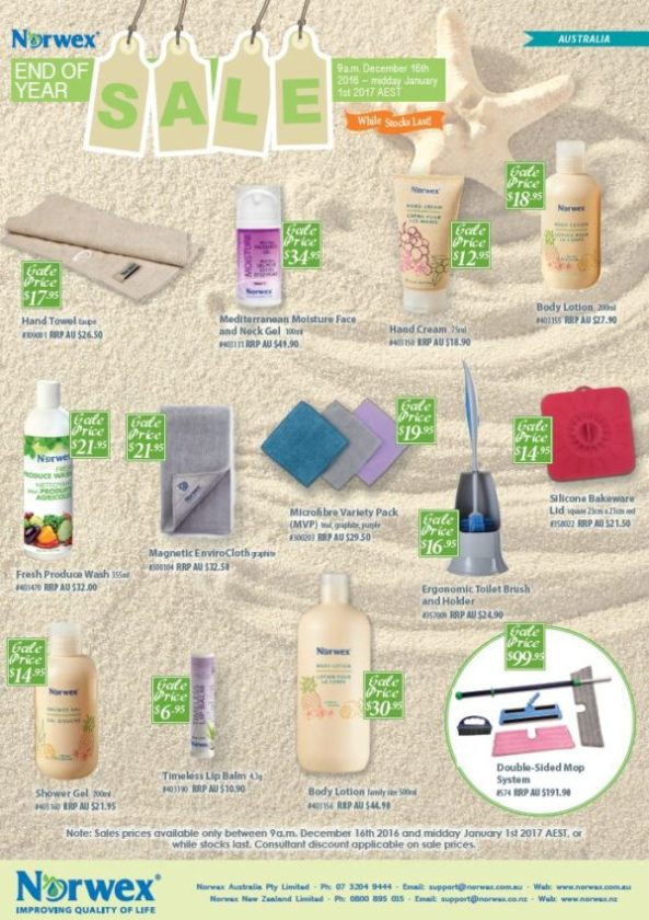 30%+ off sale items: taupe hand towel, face and neck gel, hand cream, body lotion, Fresh Product Wash, Magnetic enviro towel, microfibre variety pack, ergonomic toilet brush, square silicon lid, shower gel, lip balm (35% off!), double sided mop system