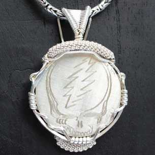 Steal Your Face Hand Engraved and Wrapped in Sterling Silver Pendant