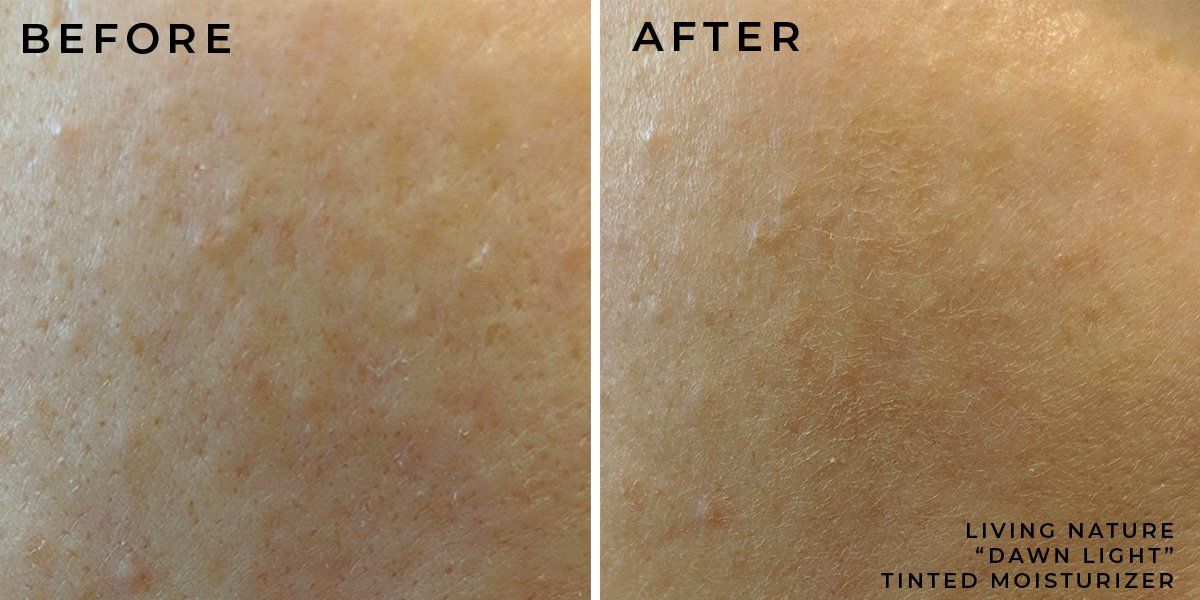LIVING NATURE TINTED MOISTURIZER DAWN LIGHT SWATCH