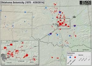 Oklahoma Earthquake Activity. Blue = 1970-2008, Red = 2009-2014 usgs.gov
