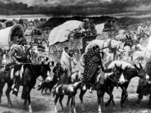 Painting by Robert Lindneux Depicting the Trail of Tears georgiaencyclopedia.org