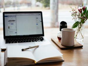 Laptop, Book, Pen, Coffee, Window