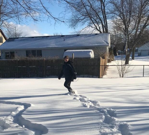 Snow day tracks in snow