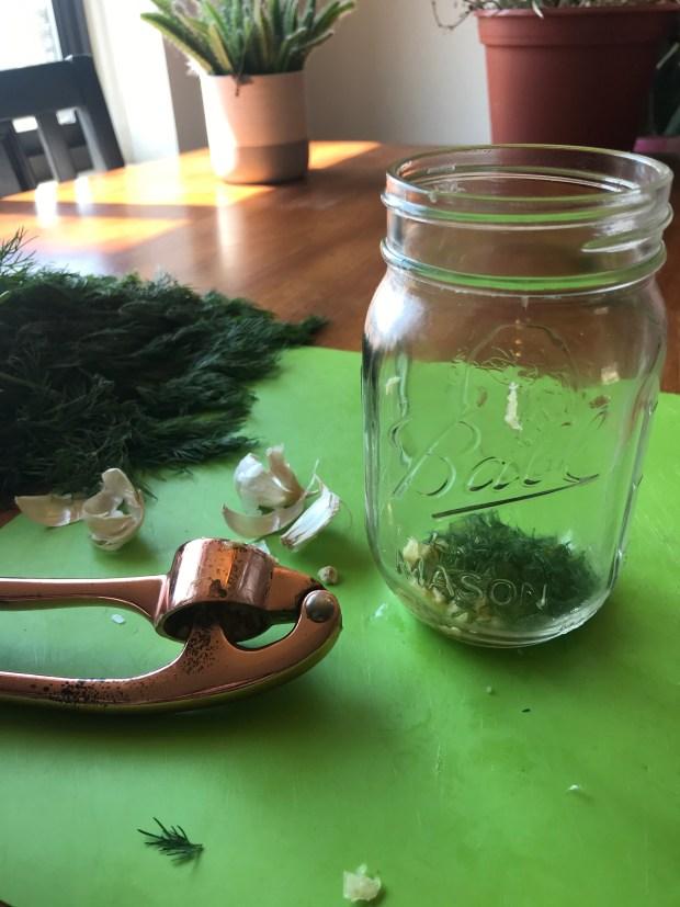 Cutting up herbs