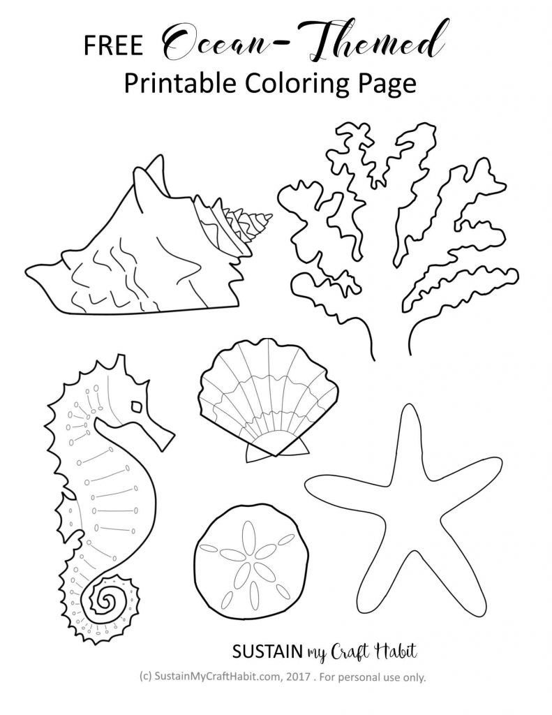 Free Ocean-Themed Coloring Page Printable!