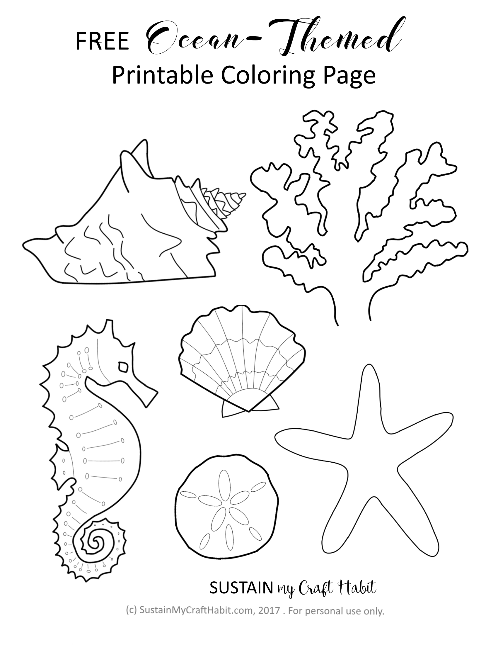 Free Ocean Themed Coloring Page Printable Sustain My