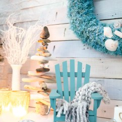 Mini Adirondack Chairs Cheap Dining Chair Covers Australia Cozy Coastal Christmas Mantel In Teal And White – Sustain My Craft Habit