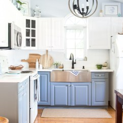 Beach Kitchen Cabinets Prep Cart Coastal Cottage Design Graystone Reveal A With High Ceilings White And Gray Dark Fixtures