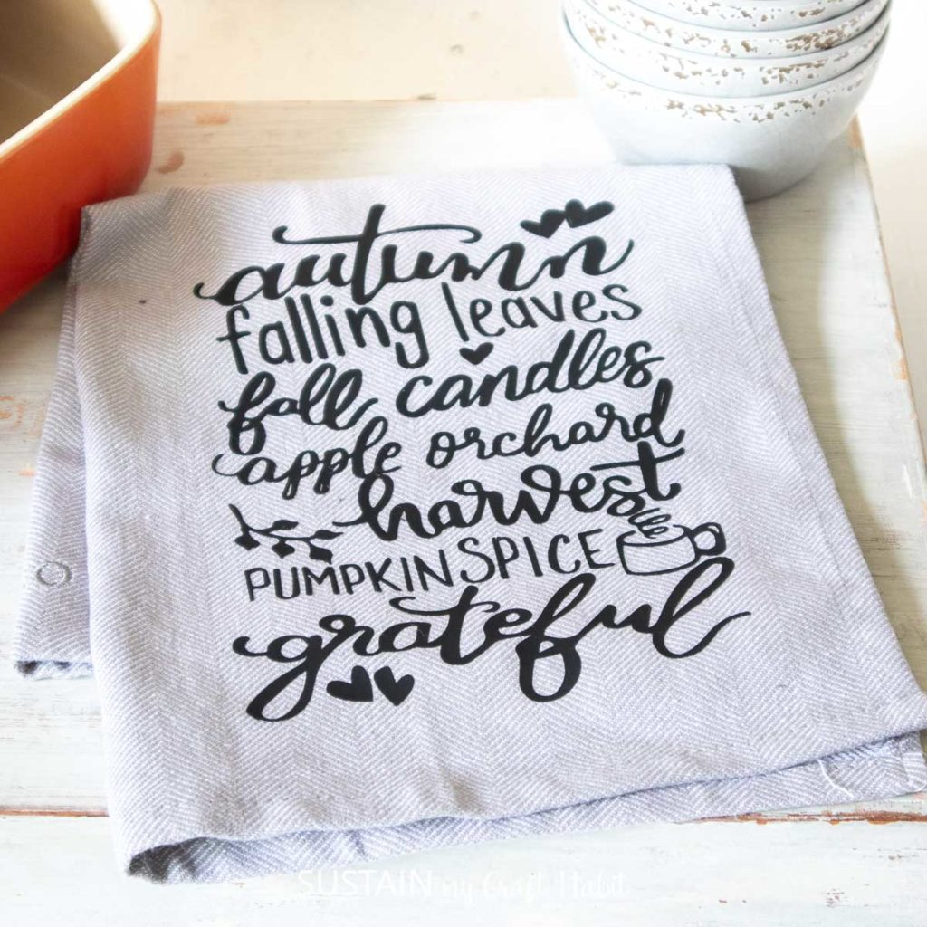 Download DIY Fall Tea Towels with Iron On Vinyl - Sustain My Craft ...