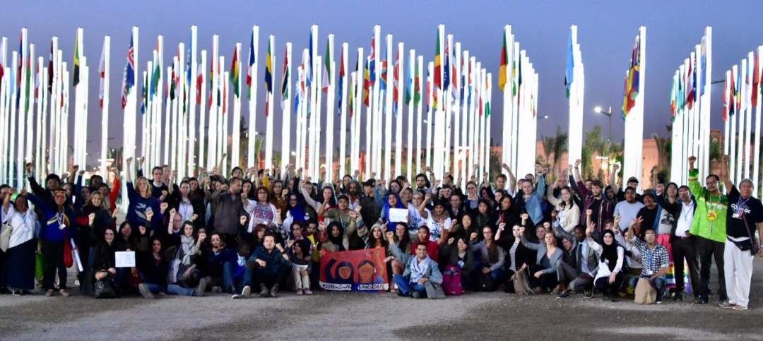 Hundreds gather at #NoDAPL ceremony at COP22 (Remy Franklin)