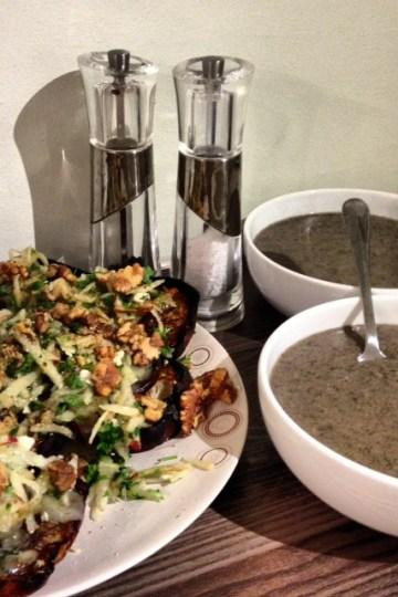 Mushroom Soup with Stilton Toasts