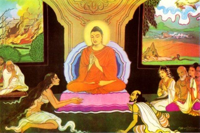 Patachara asking help from the Buddha