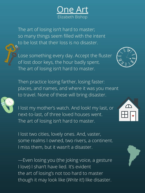 poem 'one art' by Elizabeth Bishop