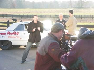 James Suttles filming on the music video Carolina Moonshine with NASCAR legend Junior Johnson