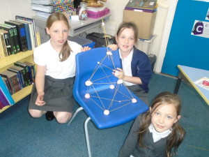 We used marshmallows and spaghetti to build towers. We worked in mixed year groups so that we learnt to work as a team.