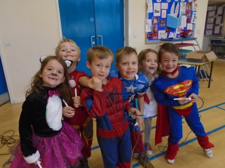 Super Heroes learning to skip.