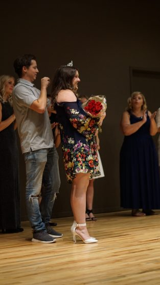 Winner Samantha Cress being crowned during Sigma Chi's pageant. Photo By Mitchell Quartz.