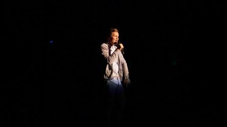 Dallin Tripp singing at Mr. SUU. Photo by Mitchell Quartz.