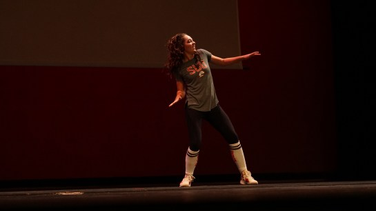 Katie Wills dancing during the talent portion.