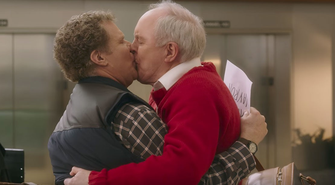 2 guys commence by kissing