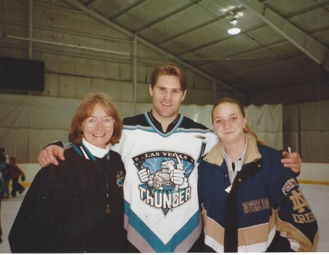 Thunder player Louie DeBrusk with Charlotte Folkman Ayres and Alex Forshee. Courtesy of Charlotte Folkman Ayers