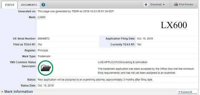 Lexus LX 600 trademark