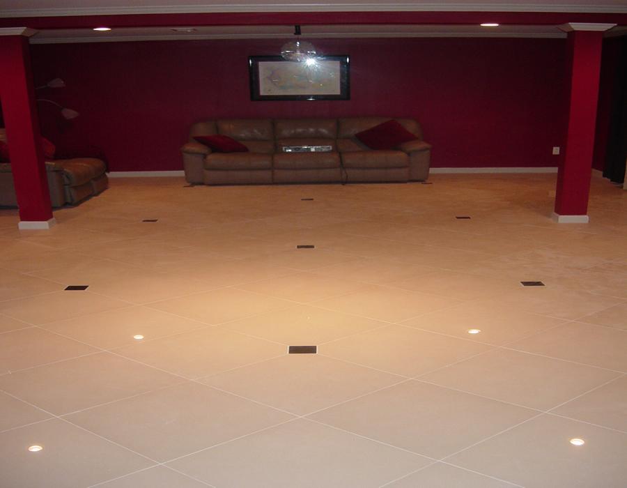 Custom Basement Floor Installation Travertine Installers