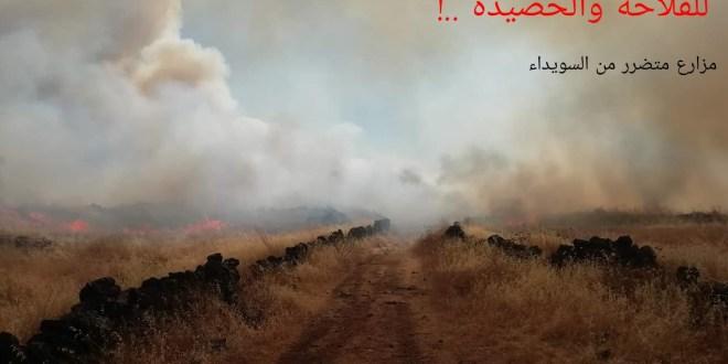النيران التهمت 18 الف دونم في السويداء والحكومة لن تعوض .!
