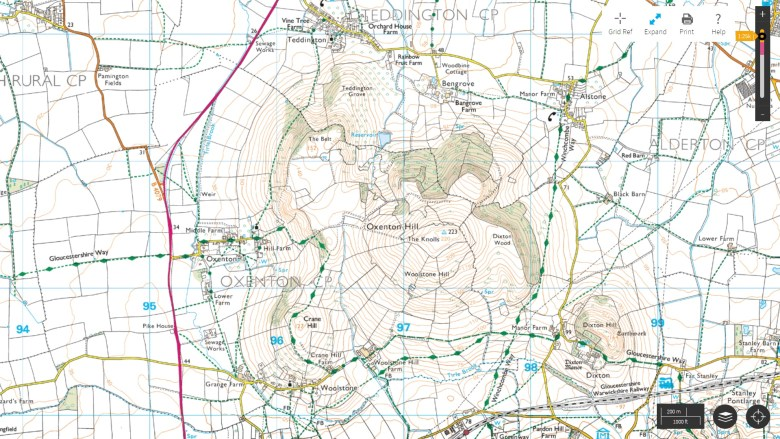 ordnance survey map oxenton hill