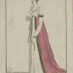 1812 Costume Parisien Dress and manteau (train) trimmed with marten (fur)