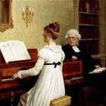 Singing to the Reverend--Edmund Blair Leighton