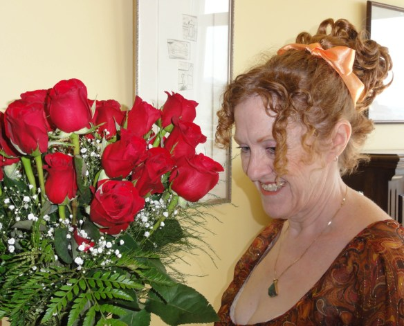 hair in fall with roses
