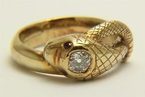 A Magnificent Georgian 0.75ct Old Cut Diamond Snake Ring In 18ct Gold Circa 1800