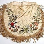 Early 19th century silk purse, 8 inches,  with silk embroidery, fringe, tassels