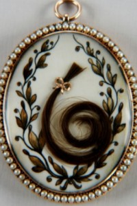 Georgian-era seed-pearl-surrounded locket with a lock of hair.