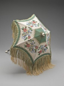 Parasol, European, circa 1805. Silk knit with glass and steel beads, wood, bone, and metal.