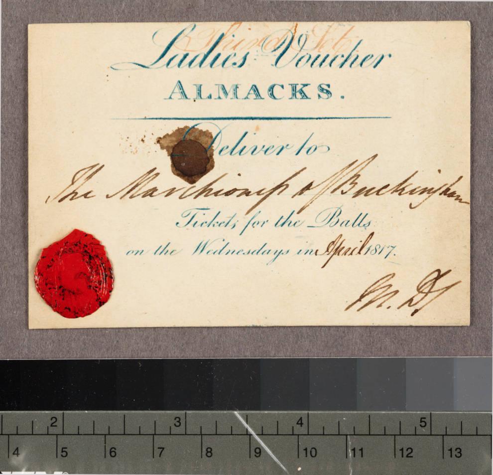 Ladies' Voucher for Almack's, 1817