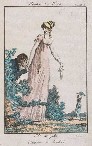 "Mr. Wickham from Suzan Lauder's ""Letter from Ramsgate"" attempts to woo Miss Georgiana Darcy, while Miss Elizabeth Bennet wanders around in the distance, spinning her parasol. (Artwork: Debucourt, Modes et Manières du Jour no. 34)"