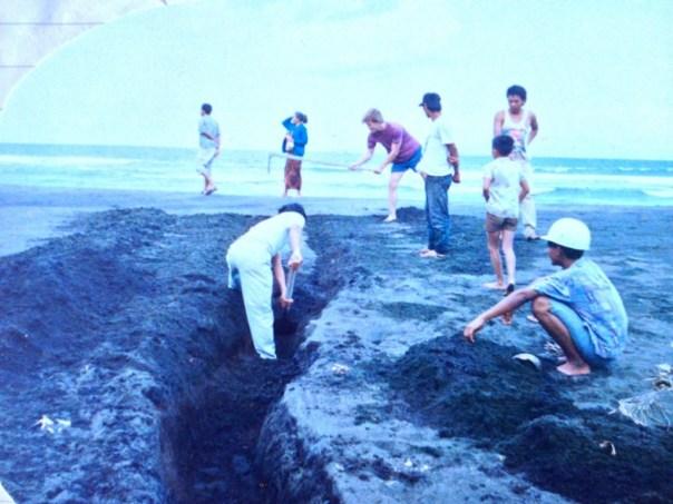 Ex R. redt lontarpalmen, al dan niet geestelijk bijgestaan door de bewoners van Saba.