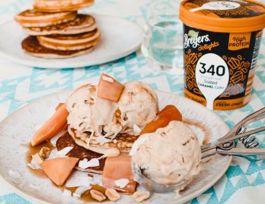 vegan pannenkoeken met salted caramel ijs