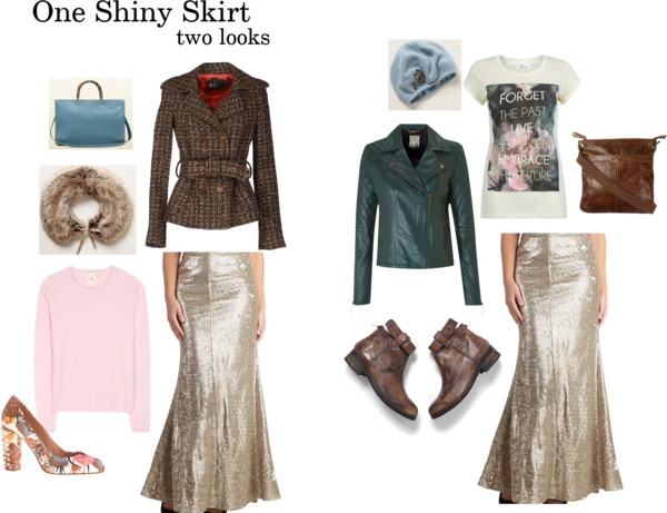 One Shiny Skirt Two Looks