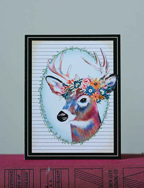 Floral Deer Christmas Card by Suzanne Carillo