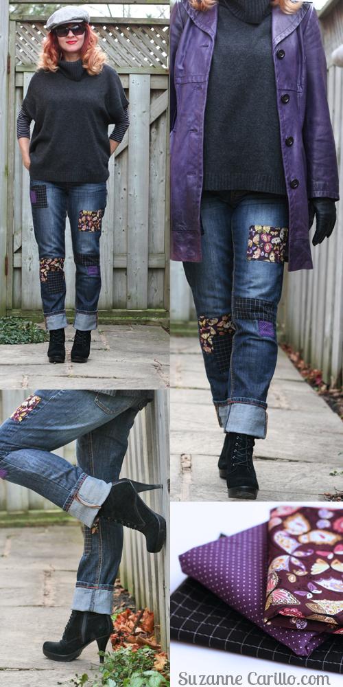 DIY patchwork jeans. Simple fun fast way to create unique designer jeans.