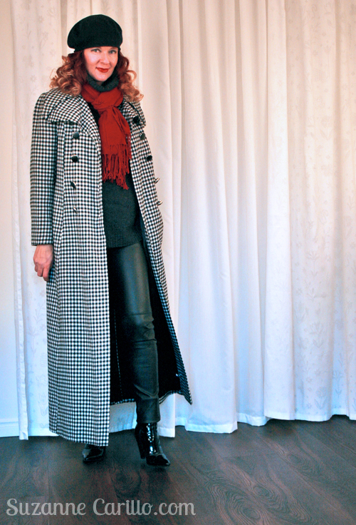 peter weber vintage floor length black and white check coat